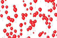 Red balloons on white background, color red, party festive holiday event, birthday Royalty Free Stock Images