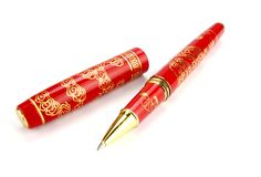 Red Ballpoint Pen. On White Back Ground Stock Photography