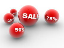 Red balls. Sale and discounts. Red balls. Concept of shopping. 3d redner Stock Photos