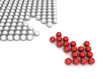 Red balls arrow moving out from white crowd. 3d vector illustration
