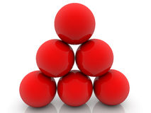 Red balls assembled in pyramid Stock Photo