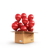 Red balls in a cardboard box for deliveries  on white ba Stock Photography