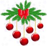 Red balls on a fir branch Stock Photos