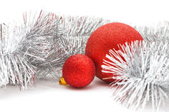 Red balls and garland Royalty Free Stock Photo