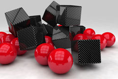 Red balls interact with black carbon cubes Stock Images