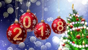 Red balls with numbers 2018 hanging on the background of a blue bokeh and a rotating Christmas tree. 3d rendering Royalty Free Stock Image