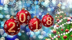 Red balls with numbers 2018 hanging on the background of a blue bokeh and a rotating Christmas tree 3d rendering. vector illustration