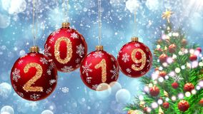 Red balls with numbers 2019 hanging on the background of a blue bokeh and a rotating Christmas tree 3d rendering. vector illustration