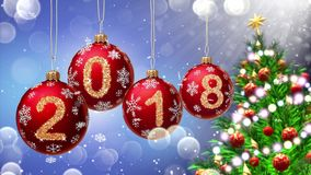 Red balls with numbers 2018 hanging on the background of a blue bokeh and a rotating Christmas tree 3d rendering. stock video