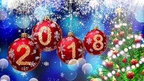 Red balls with numbers 2018 hanging on the background of a blue bokeh and a rotating Christmas tree 3d rendering. stock footage