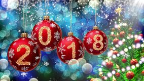 Red balls with numbers 2018 hanging on the background of a blue bokeh and a rotating Christmas tree 3d rendering. royalty free illustration