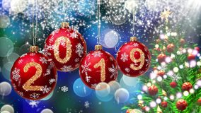 Red balls with numbers 2019 hanging on the background of a blue bokeh and a rotating Christmas tree 3d rendering. royalty free illustration