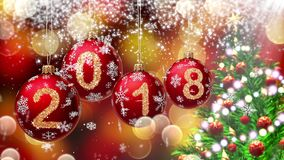 Red balls with numbers 2018 hanging on the background of a bokeh and a rotating Christmas tree. 3d rendering. stock video