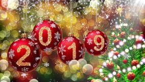 Red balls with numbers 2019 hanging on the background of a gold bokeh and a rotating Christmas tree 3d rendering. vector illustration