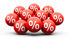 Red balls with percent - super sale Stock Photos