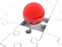 Red balls randomly stacked on puzzle pieces Stock Photo