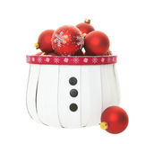 Red Balls in Snowman Basket Stock Image