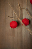 Red balls of string on branch on neutral wall Stock Photography