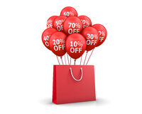 Red Baloons Discounts. And bag 3d rendering Royalty Free Stock Images