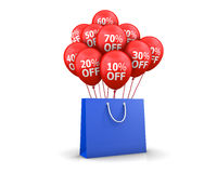 Red Baloons Discounts. And bag 3d rendering Stock Photo