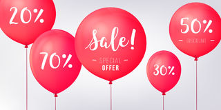 Red Baloons Discounts. Sale concept icons for shop, retail. Fashion birthday vector illustration. Baloon sale poster. Royalty Free Stock Photos
