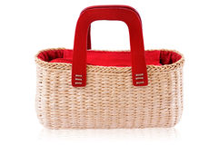 Red bamboo bag. On the white background. Isolated on white royalty free stock images