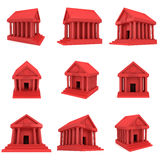 Red Bank building 3d icon Royalty Free Stock Photography