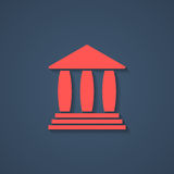 Red bank or greek colonnade icon with shadow Stock Photos