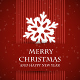 Red banned christmas card with snowflake Royalty Free Stock Photography