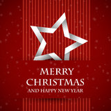 Red banned christmas card with star. Christmas card vector illustration