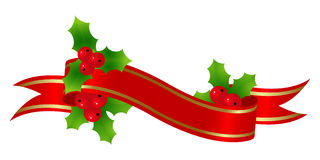 Red banner. With holly for christmas decoration. Vector illustration Royalty Free Stock Image