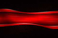 Red banner on black carbon fiber hexagon. Background and texture. 3d illustration Royalty Free Stock Images
