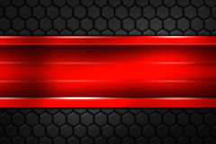 Red banner on black carbon fiber hexagon. Background and texture. 3d illustration Royalty Free Stock Photos