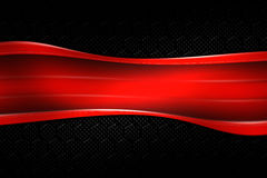 Red banner on black carbon fiber hexagon. Background and texture. 3d illustration royalty free illustration