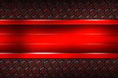 Red banner on black carbon fiber hexagon. Background and texture. 3d illustration stock illustration