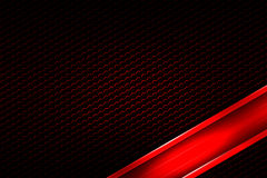 Red banner on black carbon fiber hexagon. Background and texture. 3d illustration Royalty Free Stock Image
