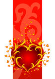 Red banner with burning heart. Vector illustration Royalty Free Stock Photography