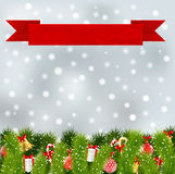 Red banner with christmas elements Stock Photo