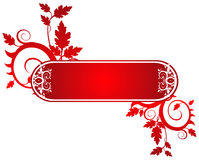 Red banner on a flower ornament Stock Image