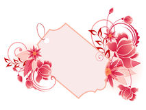 Red  banner with flowers, leaves  and ornament Royalty Free Stock Photography