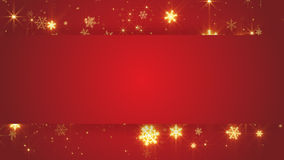 Red banner and gold snowfall Royalty Free Stock Photo
