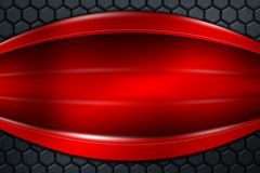Red banner on gray carbon fiber hexagon. Background and texture. 3d illustration Stock Image