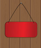The red banner hanging on a wooden wall Stock Photos