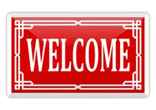 Red banner with an inscription welcome Royalty Free Stock Photos