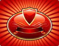Red banner label Stock Photo