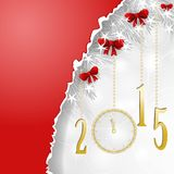 Red banner for new year. Red banner and olden clock for new year with red bows Royalty Free Stock Image