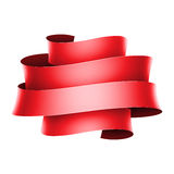 Red banner ribbon on white background Stock Image
