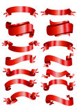 Red banner ribbons Stock Images