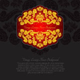 Red banner with shiny golden peonies on the black background Stock Images