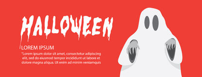 Red banner of white sheet ghost on Halloween flat vector. Stock Photo